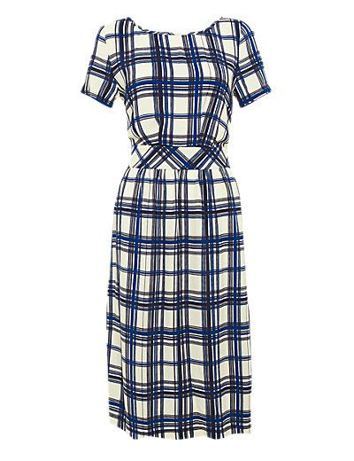 Fit & Flare Checked Tea Dress Clothing
