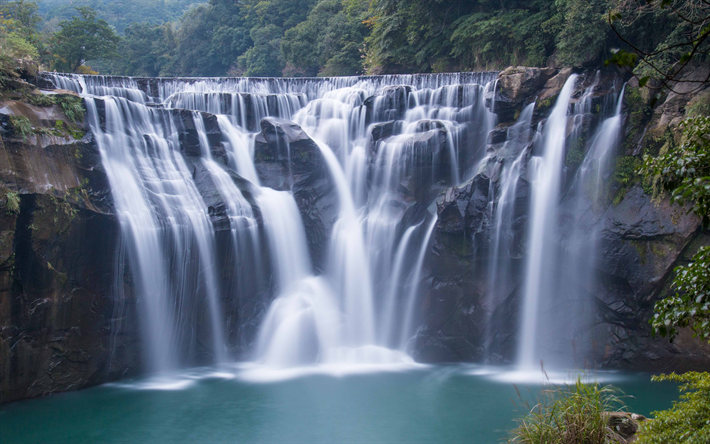 Download Wallpapers Shifen Waterfall Lake Mountain Landscape 4k Waterfalls New Taipei City Taiwan Besthqwallpapers Com Paysage Chute D Eau Paysage Montagne