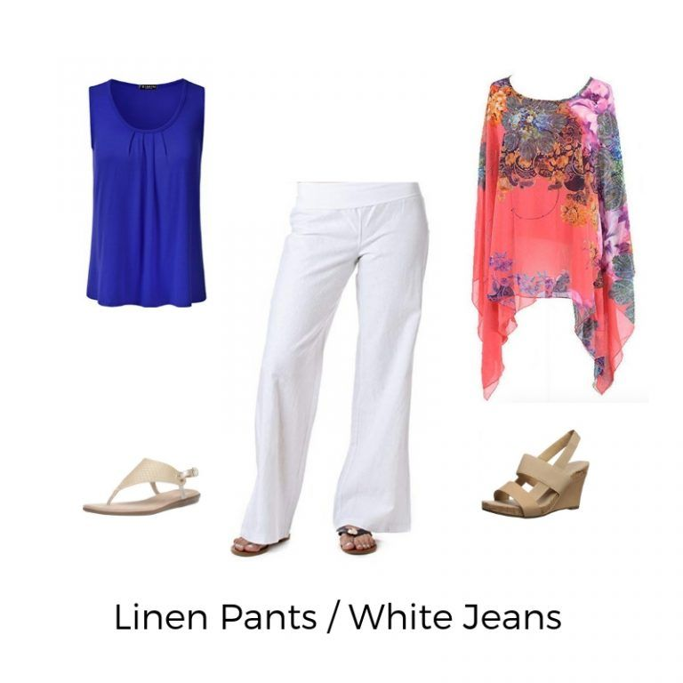 White Jeans or Linen Pants - plus size clothing cruise wear #summercruiseoutfits