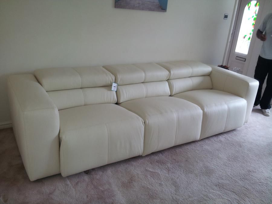 Binari 3 Seater Designer Sofa With Reclining Seats And Adjule Headrests In Leather As Delivered Contemporary Sofareclinerssofas