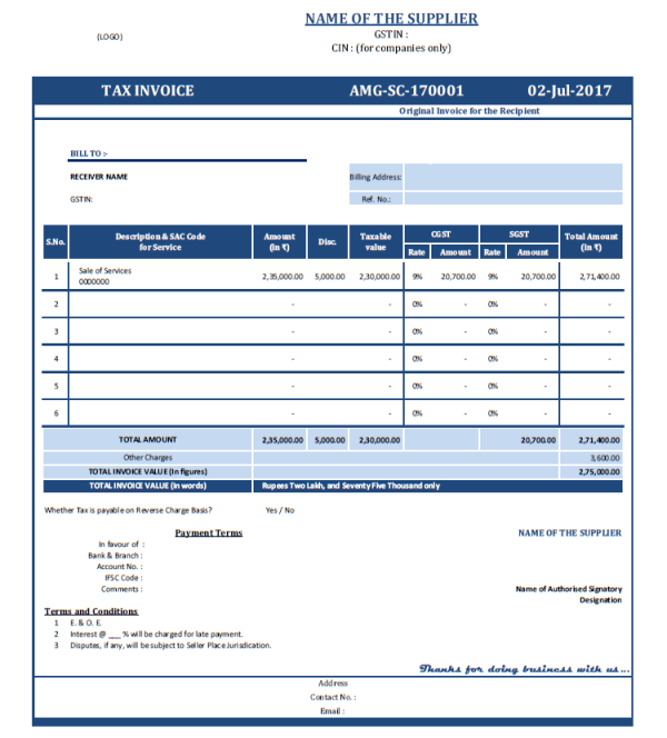 Format of TAX INVOICE under GST Regime for Local State Taxable – Service Bill Format