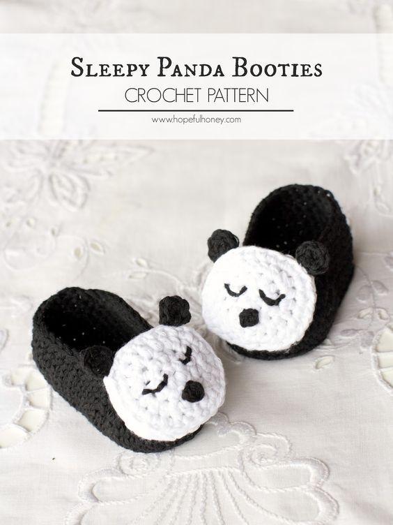 Sleepy Panda Baby Booties Crochet Pattern | Crochet | Pinterest