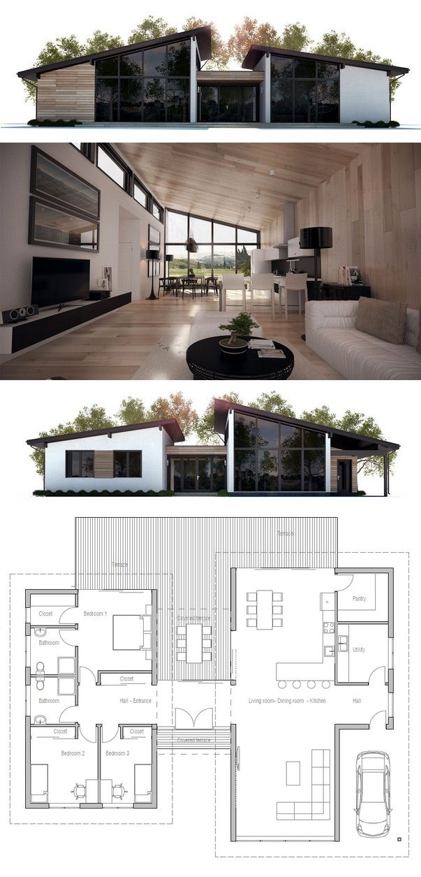Modern House Ch286 House Plans Small House Plans Architecture