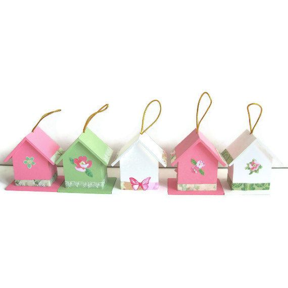 50 Mini Birdhouse Wedding Favor Decorations Wood Shabby