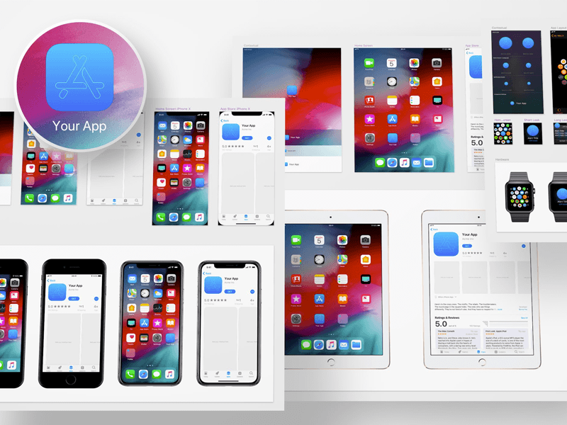 iOS 12 App Icon Template Ios app icon, Mockup template