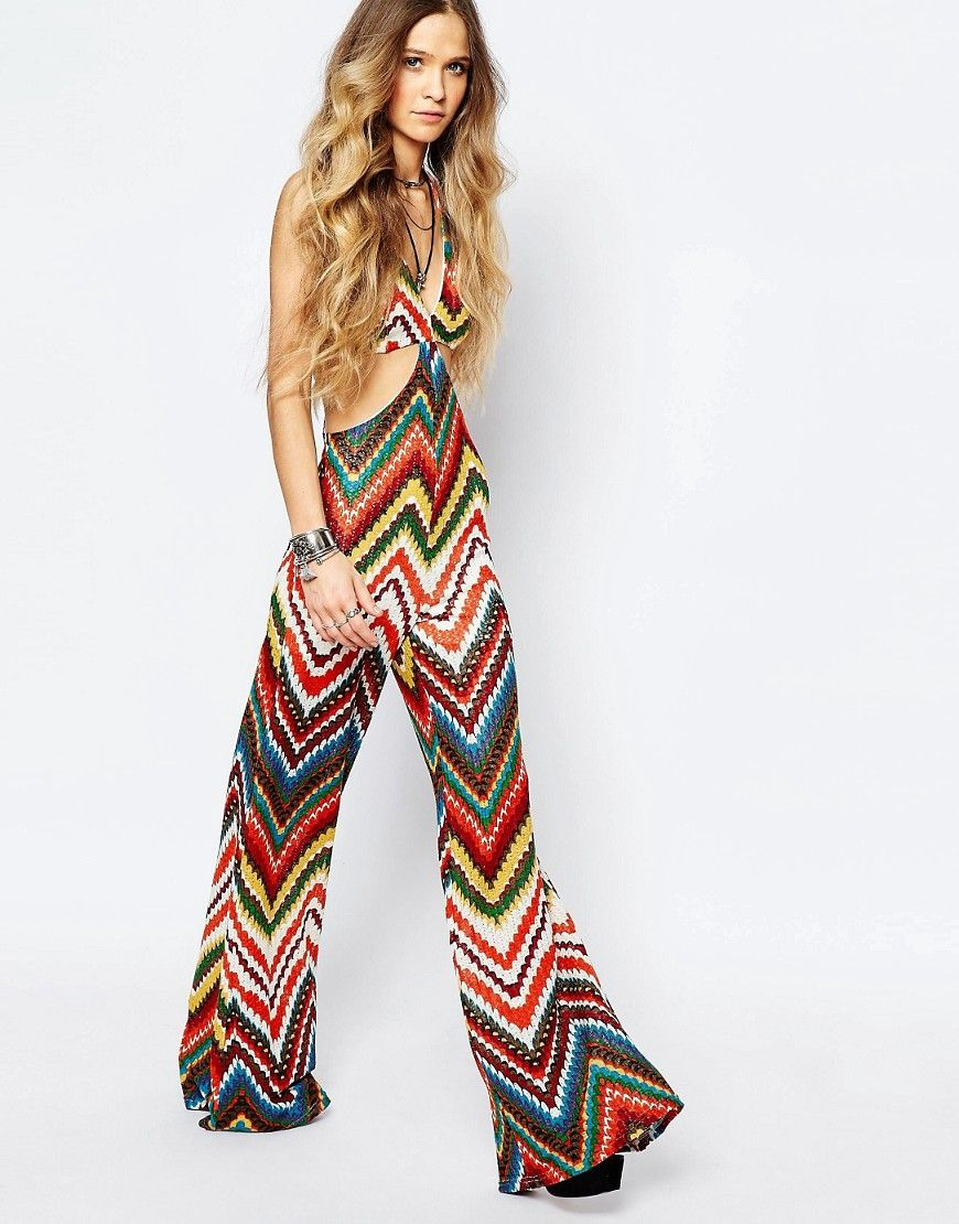 Image 4 ofReclaimed Vintage Cut Out Jumpsuit In Festival Chevron Pattern
