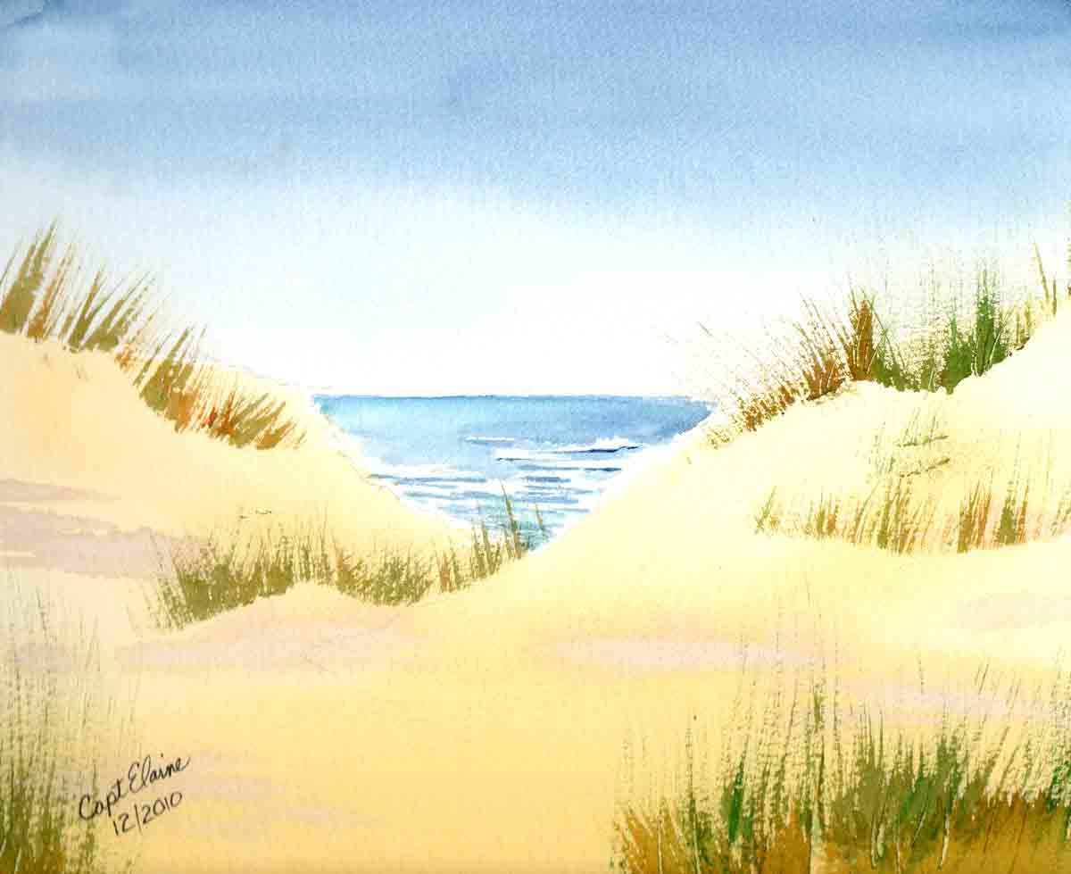 Beach Paintings For Beginners Bing Images Watercolor Landscape
