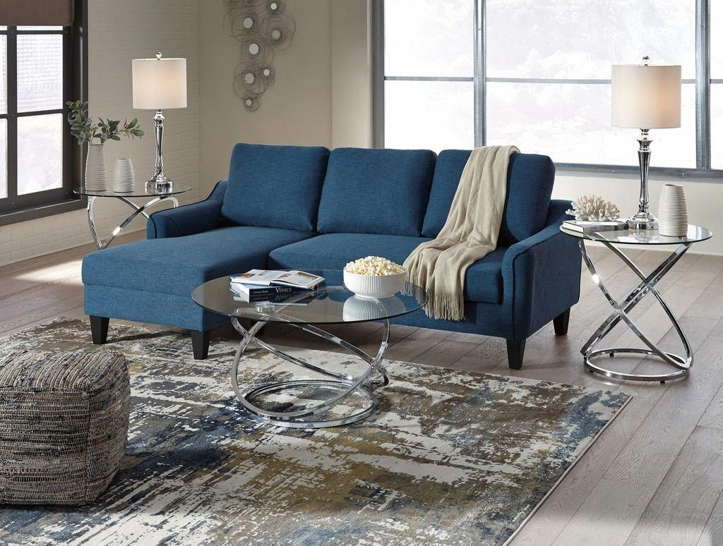 The Jarreau Blue Sofa Chaise Sleeper Chaise Sofa Furniture Living Room Sets