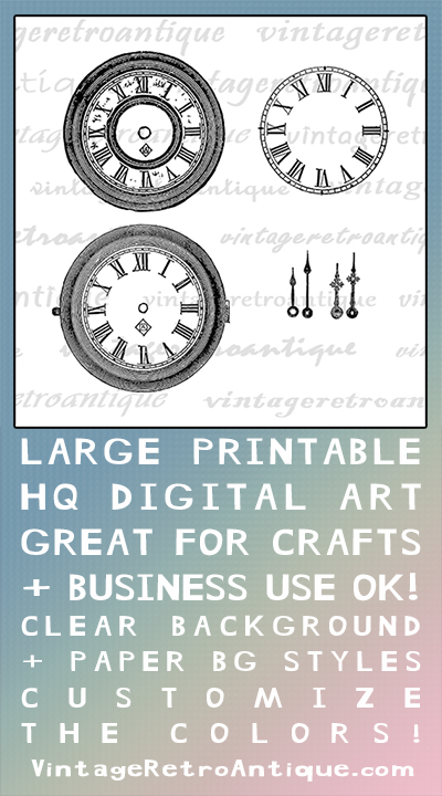 Digital Printable Blank Clock Faces Download Watch Face With Hands Graphic Image Vintage Clip Art