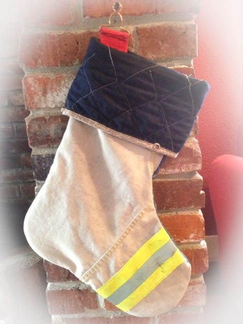 Firefighter Christmas Stocking.Firefighter Christmas Recycled Firefighter Christmas