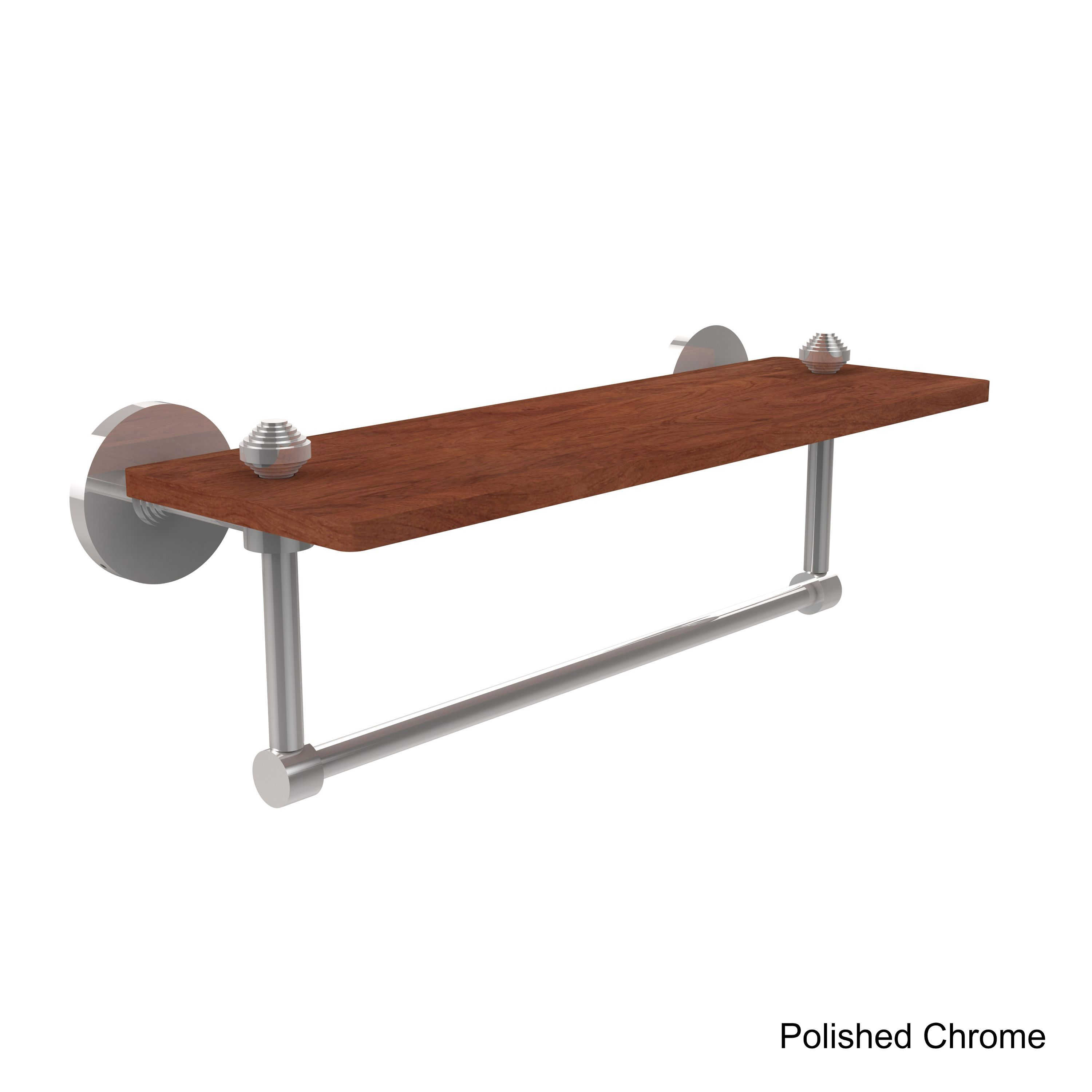 Allied Brass South Beach Collection Solid IPE Ironwood 16-inch Shelf with Integrated Towel Bar (Polished Chrome), Clear