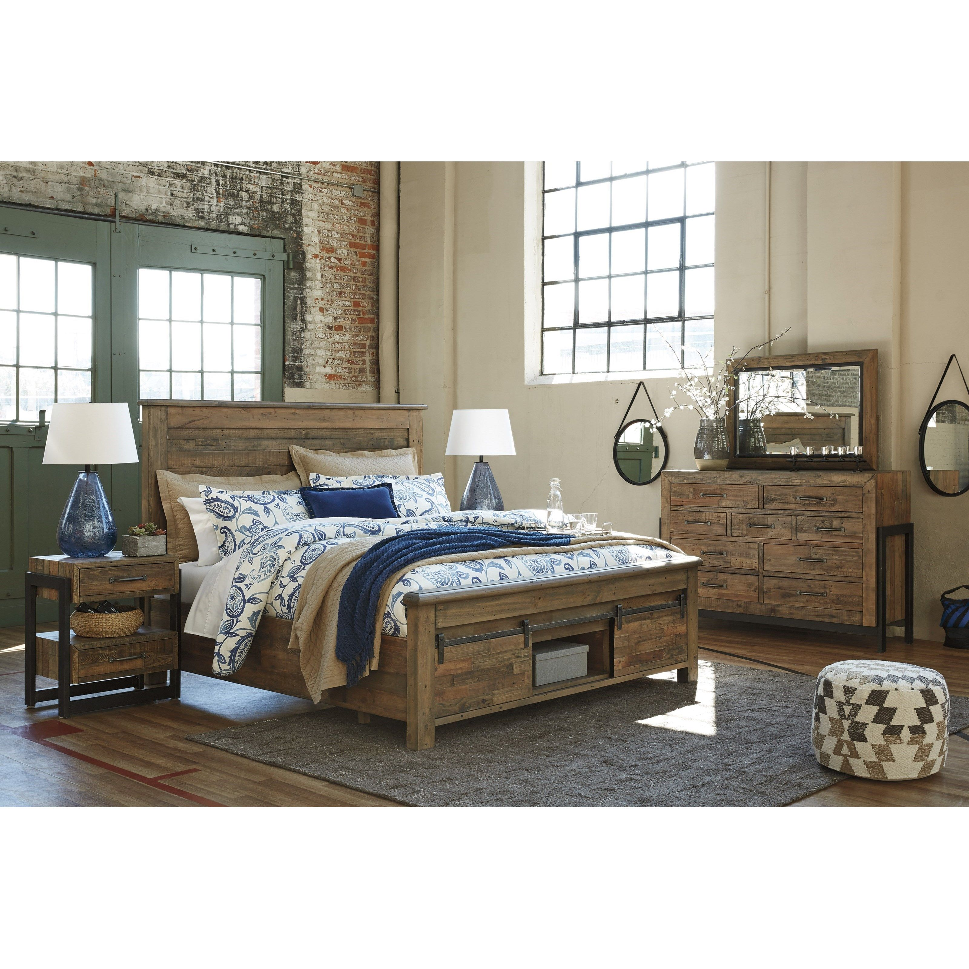 Sommerford Queen Panel Storage Bed With Barn Doors By Signature