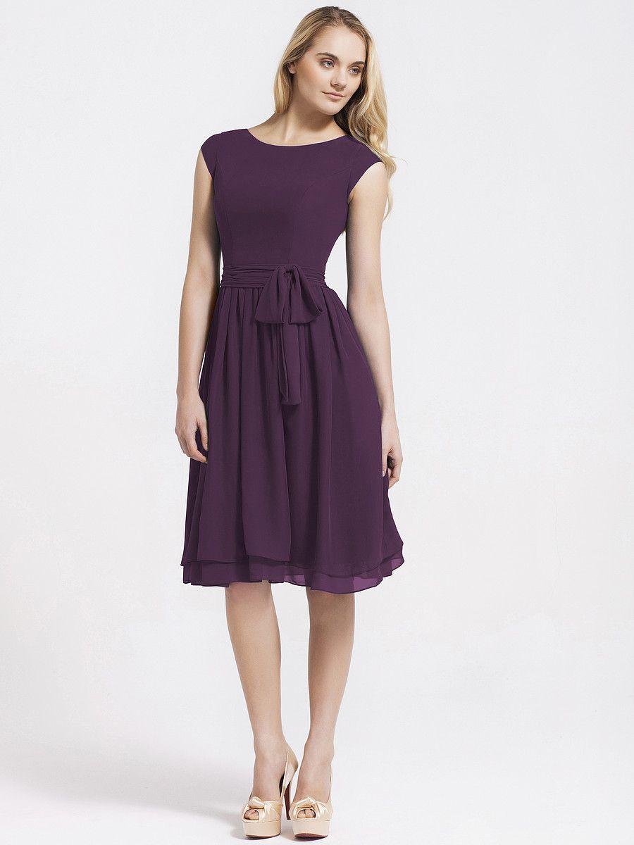 Cap Sleeve Chiffon Vintage Bridesmaid Dress | Plus and Petite sizes ...