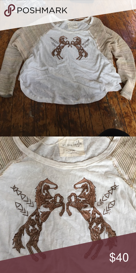 We the free embroidered horses tee Sheer knot sleeves and a funky free people fit this rare horses shirt is perfect Free People Tops