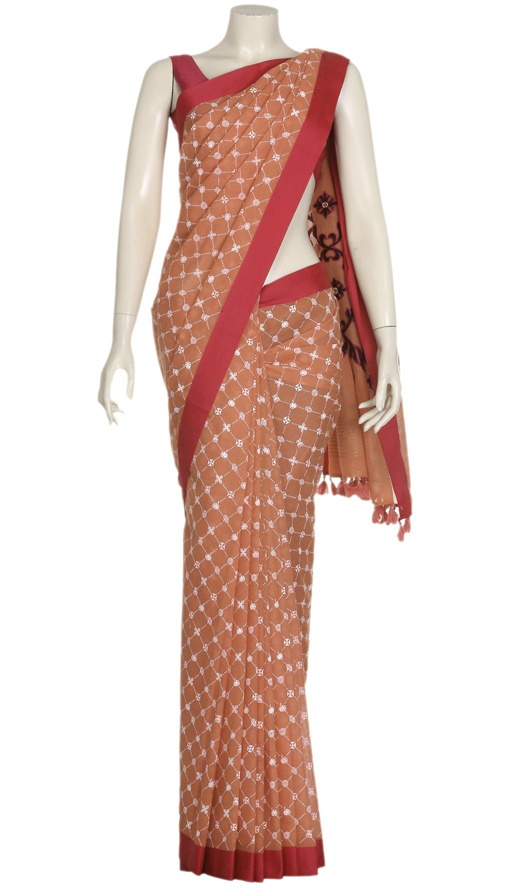 Peach Printed and Appliquéd Cotton Saree
