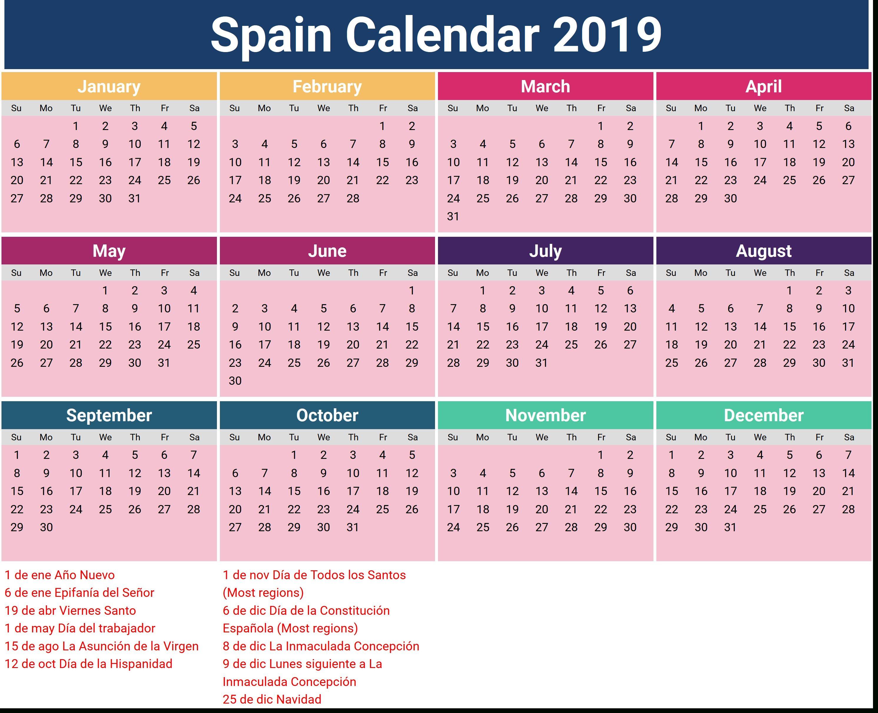 Free Printable Editable Calendar 2019 With Spain Holidays ...