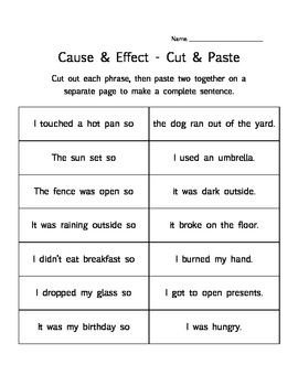 Cause and effect exercises for high school