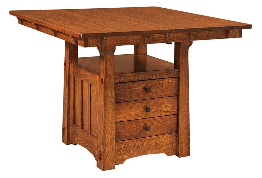 Amish Beaumont Mission Table With Storage Cabinet Amish