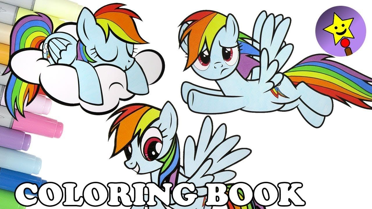 A compilation of Rainbow Dash My Little Pony coloring page videos ...