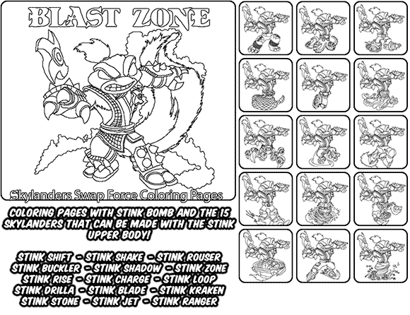 Printable Coloring Page For Kids With Skylanders Swap Force Stink Bomb And All The Different Skyl Coloring Pages Printable Coloring Pages Skylanders Swap Force