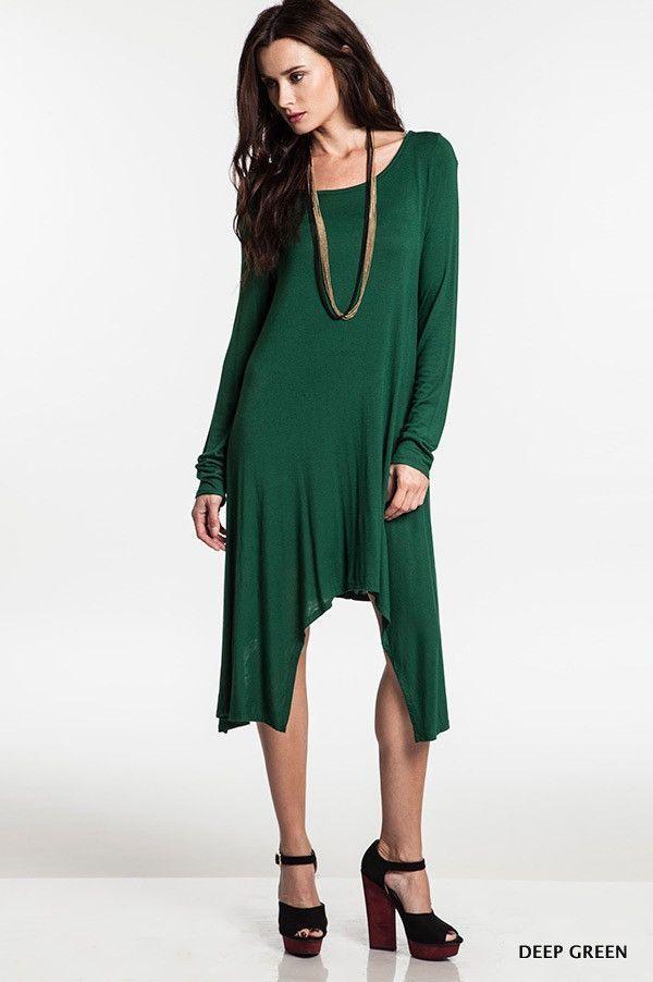 Long Sleeve Hi-Low Dress