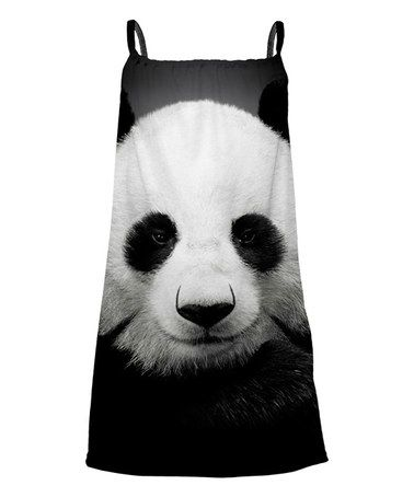 Another great find on #zulily! Black & White Panda Sublimation Yoke Dress - Toddler & Girls #zulilyfinds