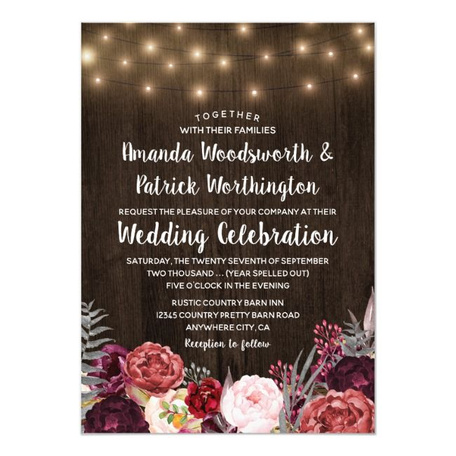 Rustic Bohemian Marsala Peony Wedding Invitations