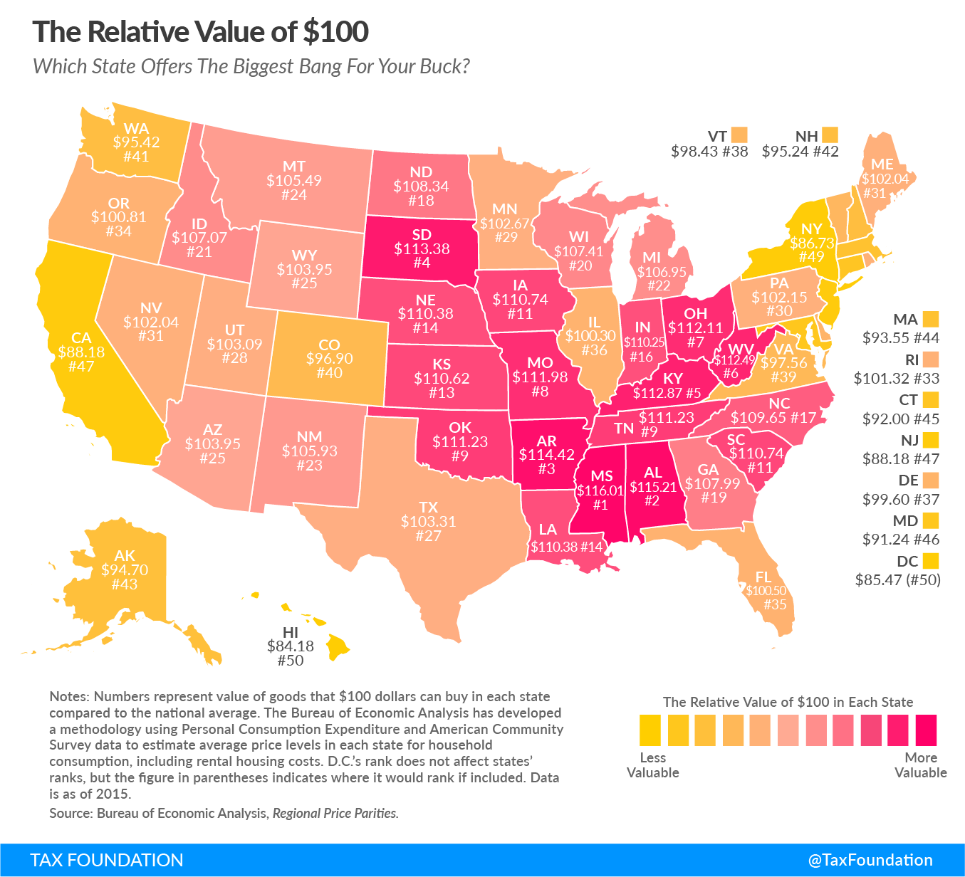 Map What 100 Is Actually Worth In Your State In 2017 Cost Of Living U S States Map