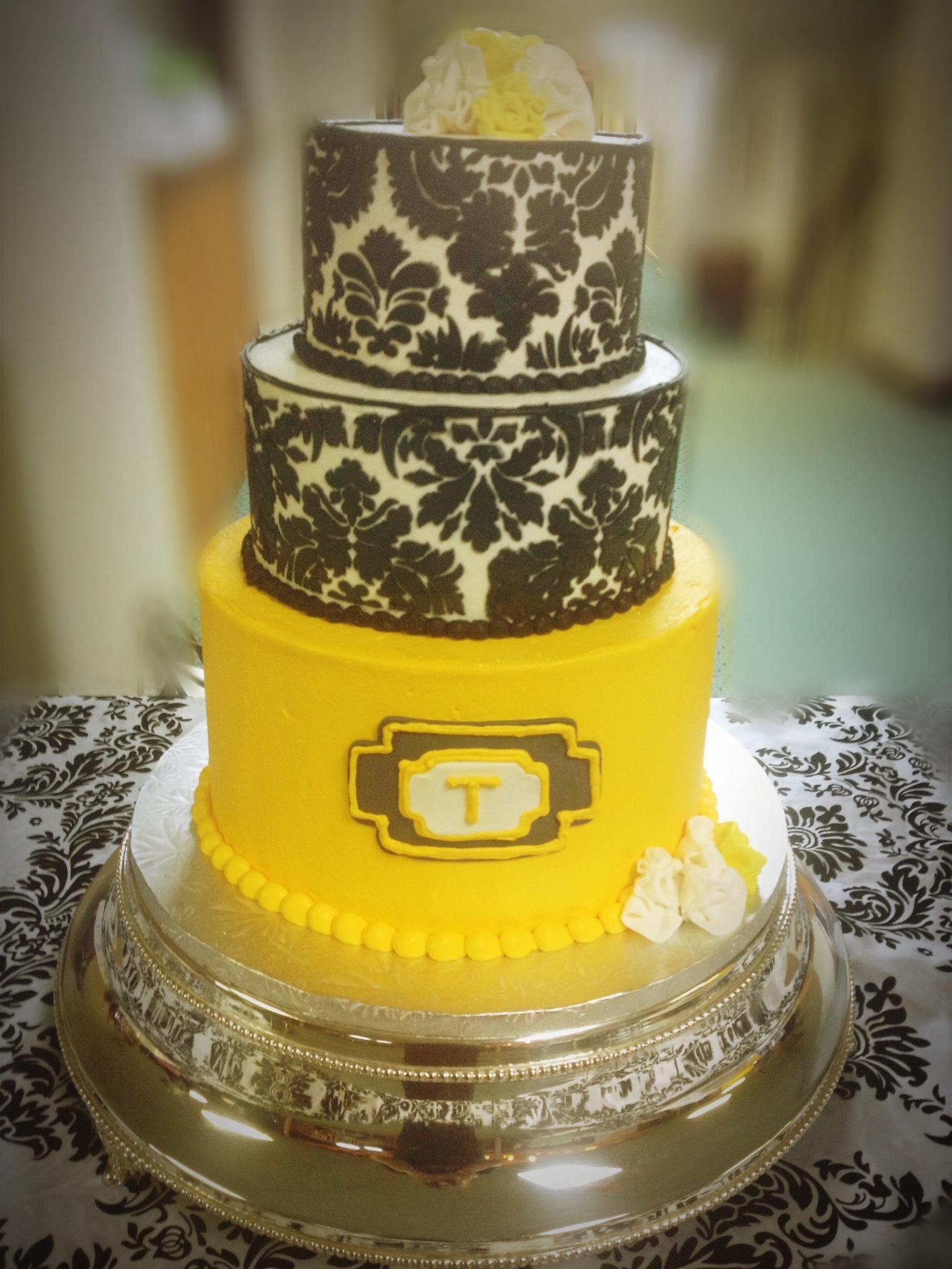Black & Yellow. Wedding Cake by Ms. Laura\'s Cakes. | Wedding Cake ...