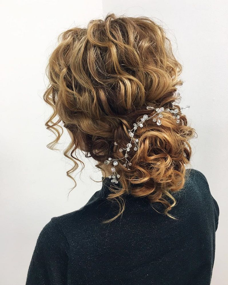 45 Charming Bride S Wedding Hairstyles For Naturally Curly: Textured Wedding Updo Hairstyle ,messy Updo Wedding