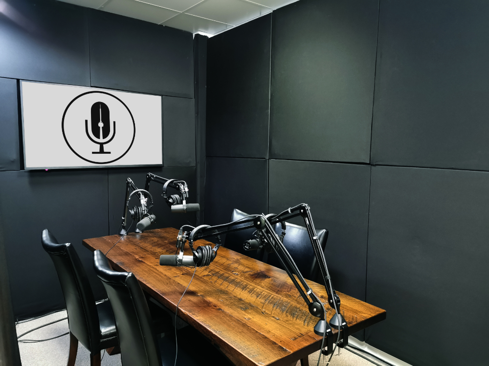 I Like How Narrow This Table Is For Interviewing And Holding The Mic Podcast Studio Music Studio Room Home Studio Setup