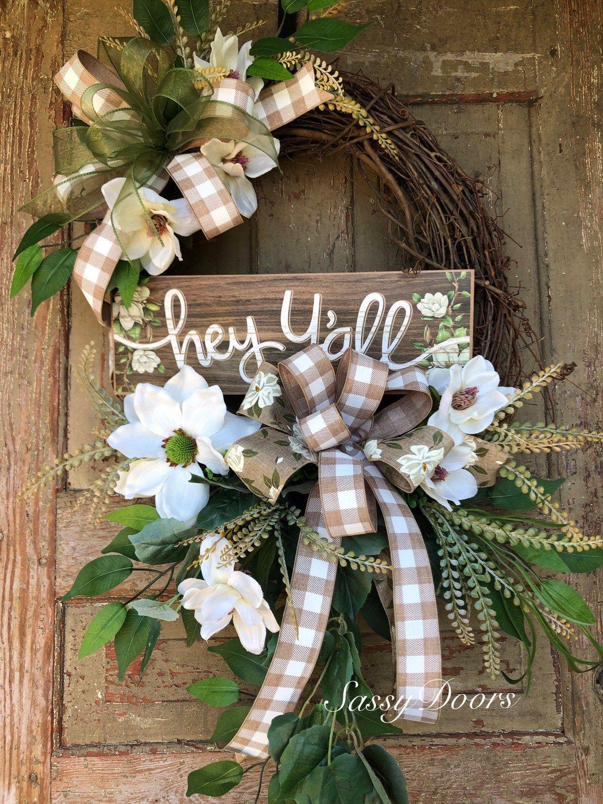 Photo of Everyday Wreath-Grapevine Wreath-Magnolia Wreath For Front Door- Wreath With Magnolias, Wreath-Sassy DoorsWreath,