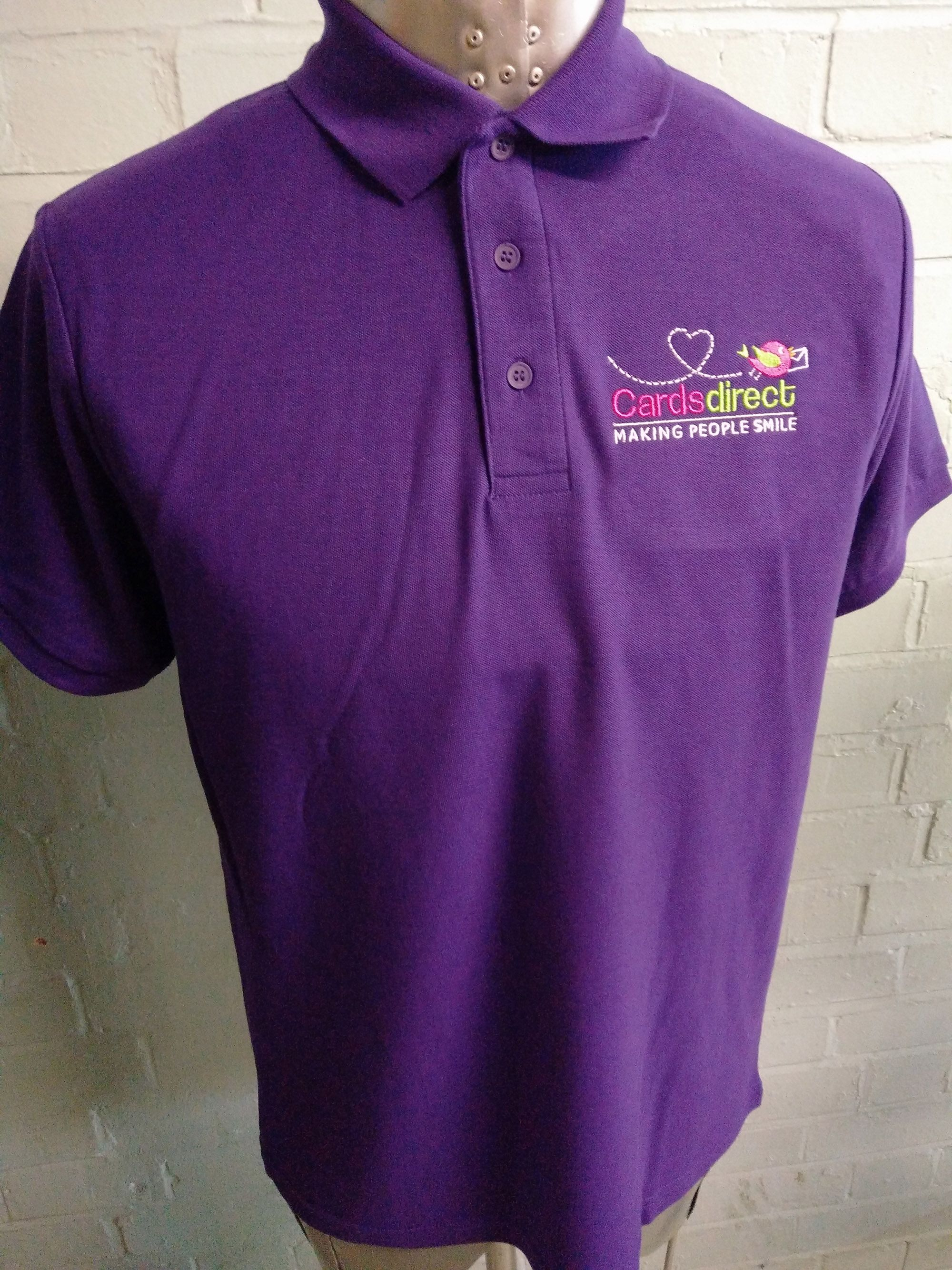 Bright Purple Polo T Shirts For Cards Direct With Custom Embroidered