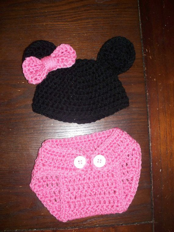 Newborn Baby Minnie Mouse Hat & Diaper Cover Set by dmsmith04 ...