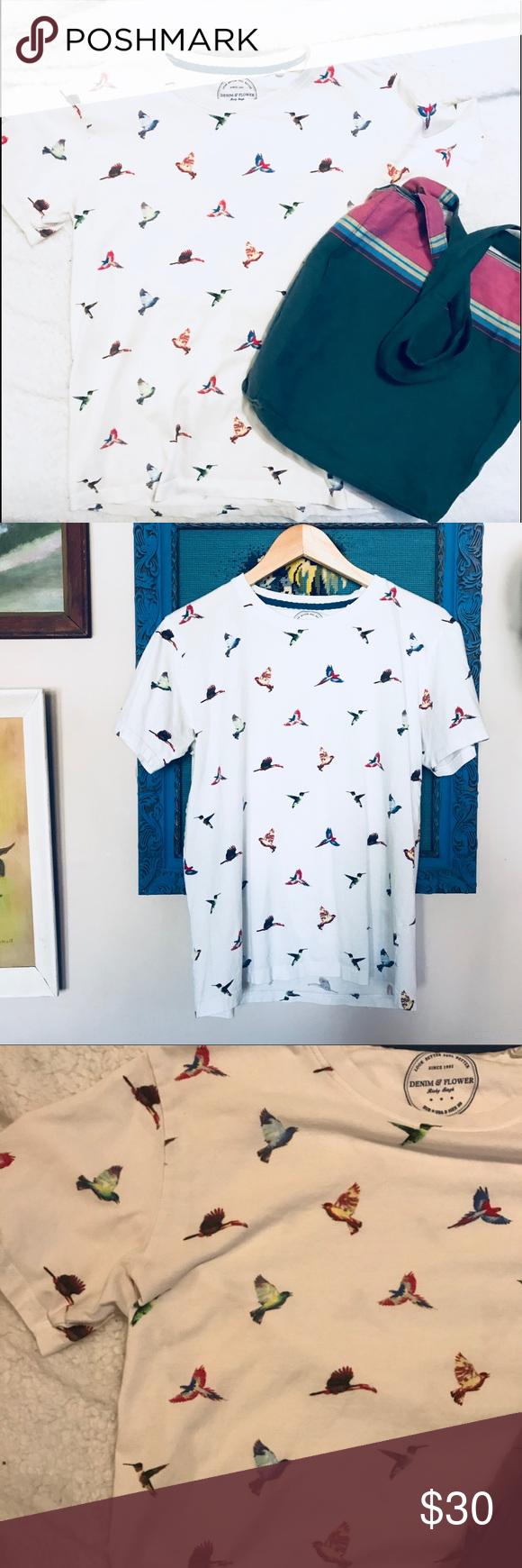 02609fcc51 Denim   Flower Tropical Bird T-shirt Denim   Flower Tropical Bird T-shirt