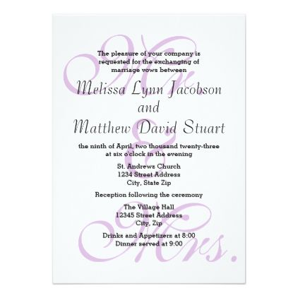 mr mrs purple wedding reception invitation pinterest