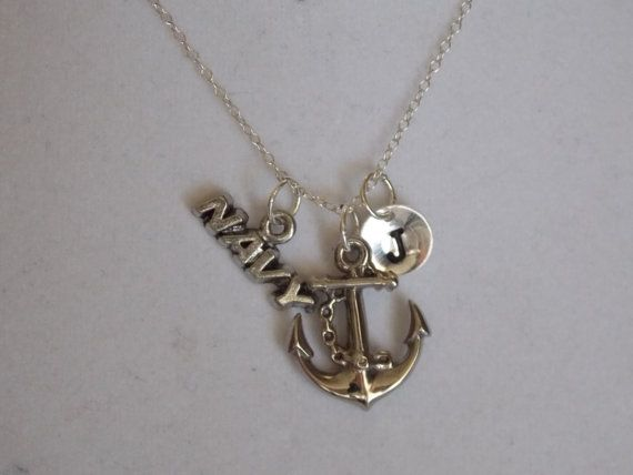 Anchor with Navy and Initial Necklace by treasuredheros1 on Etsy