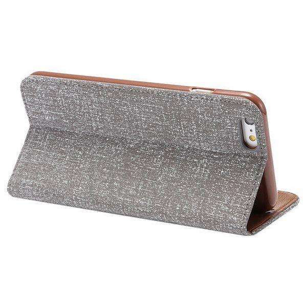 Automatische Absaugung Cloth Texture Kartenhalter-Schlag-Standplatz-TPU   PU-Leder Tasche für iPhone 6 6S Grau