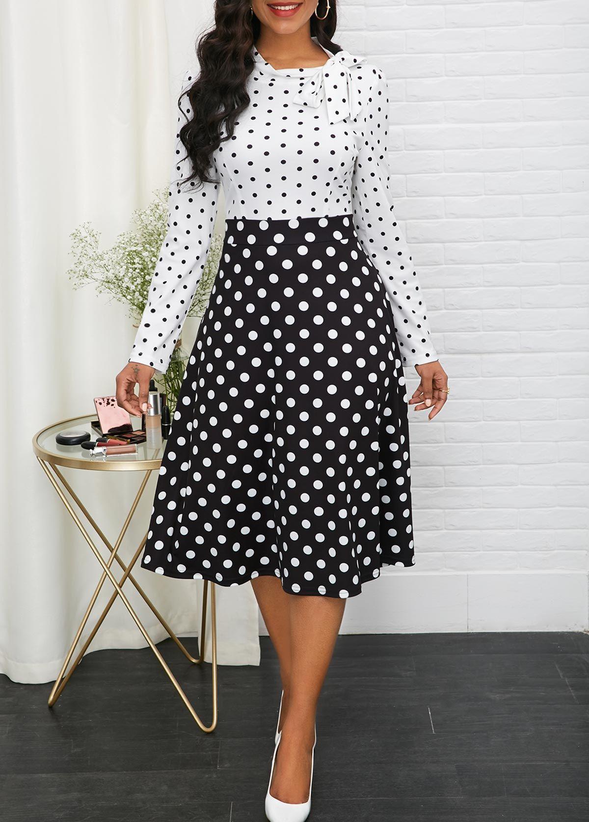 Long Sleeve Bowknot Detail Polka Dot Dress Rotita Com Usd 32 78 Classy Dress Dot Dress Outfit Formal Dresses Classy [ 1674 x 1200 Pixel ]