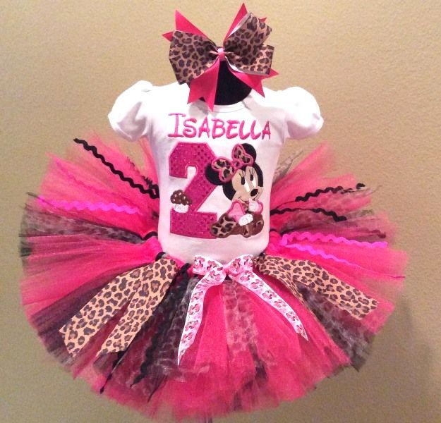 4fc58b328512 Girls HBB Baby Minnie Mouse Hot Pink Leopard Cupcake Birthday Tutu Outfit