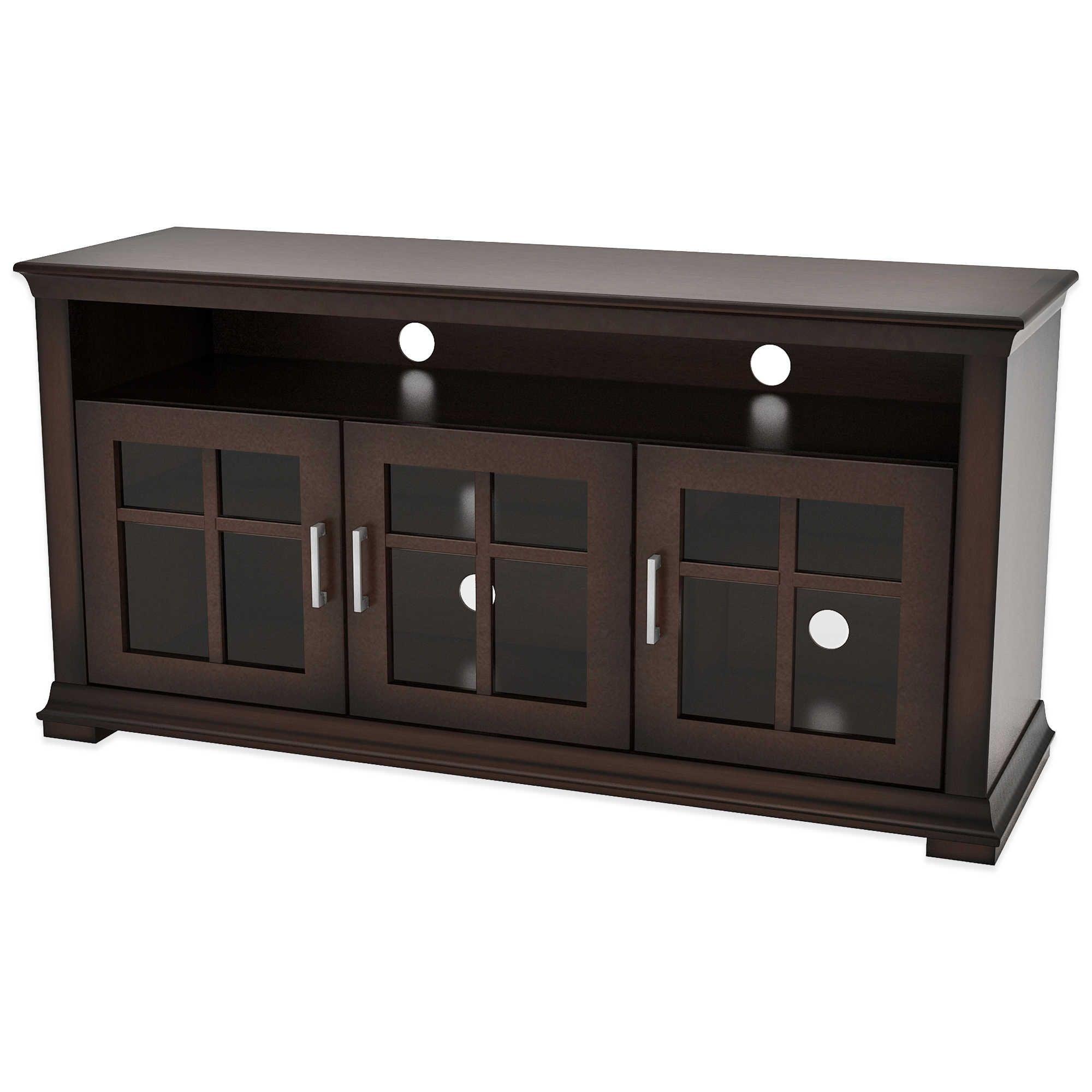 Dark Wood Tv Cabinet With Glass Doors