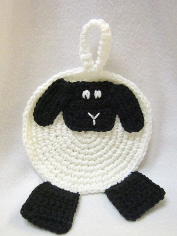 Crochet Sheep Pot Holder White with Black Face and Feet, Kitchen ...