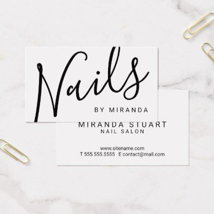 Professional Modern Black And White Nail Salon Business Card Zazzle Com Nail Salon Business Cards Salon Business Cards White Nails
