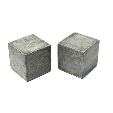 Modern Concrete Bookends Cube Modern Square Diy Bookends Cement Crafts