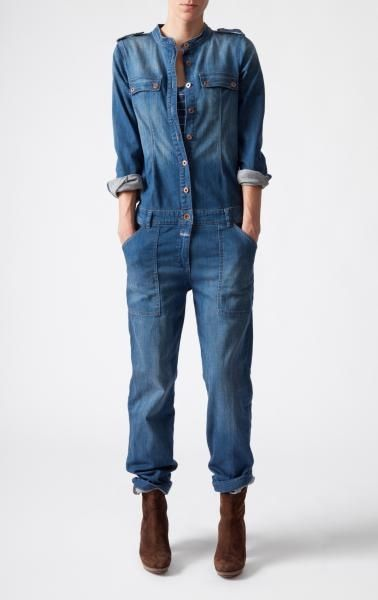 a7f174a4f23 I LOVE denim jumpsuits!! So happy they are coming in style  ) I want this