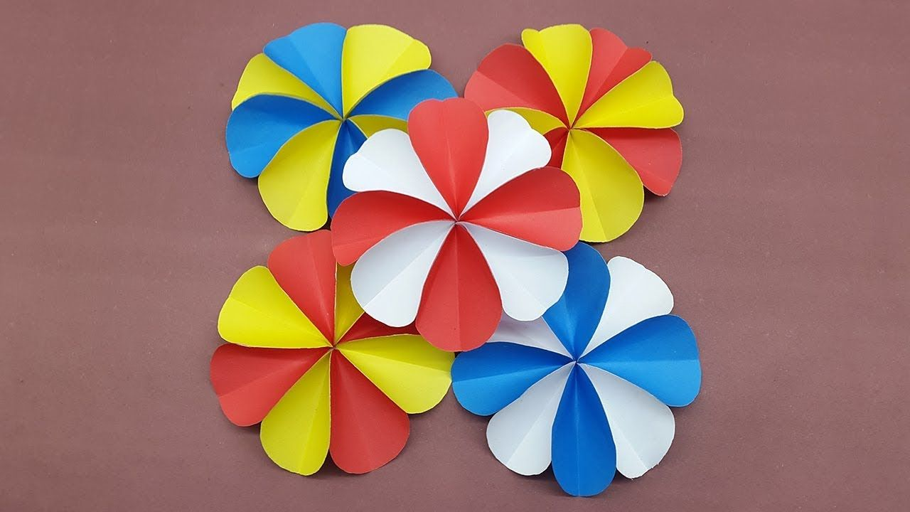 How To Make A Paper Flowers Using Colors Paper Diy Paper Flower