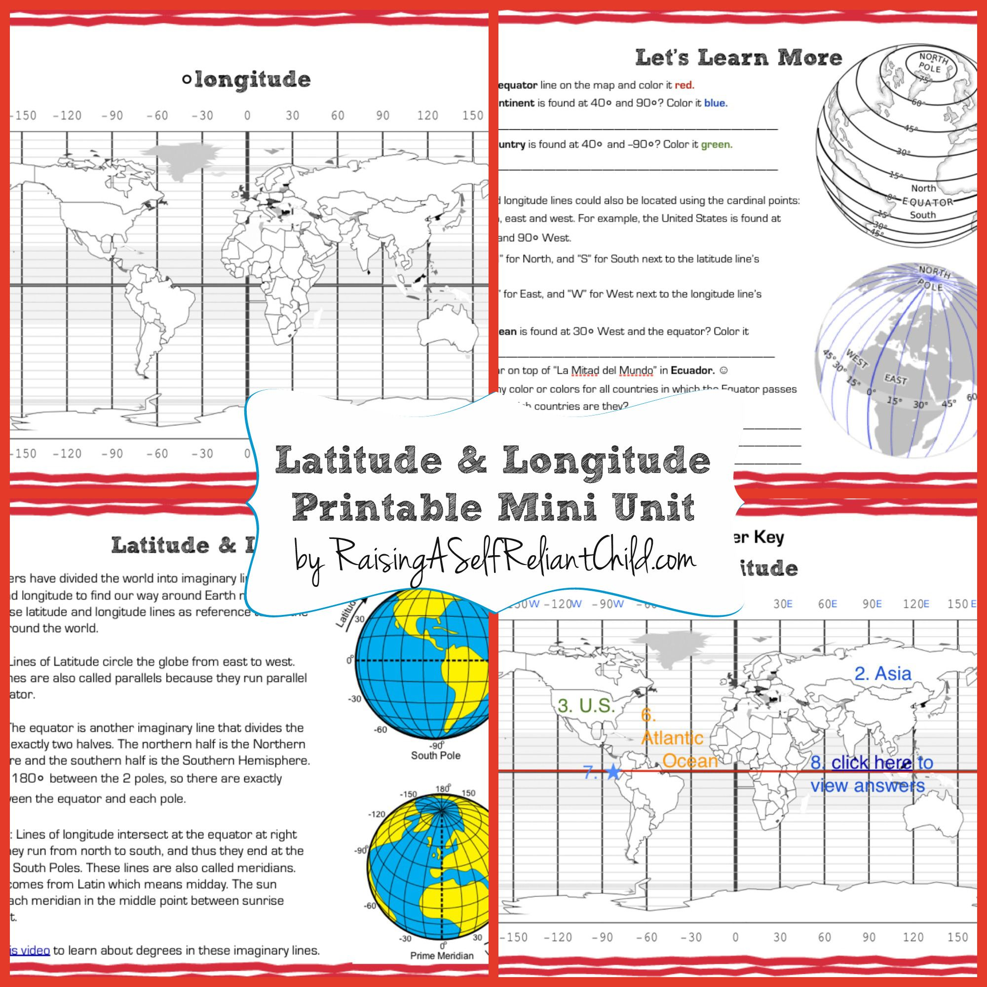 Free Printable Mini Unit Latitude and Longitude for Kids The
