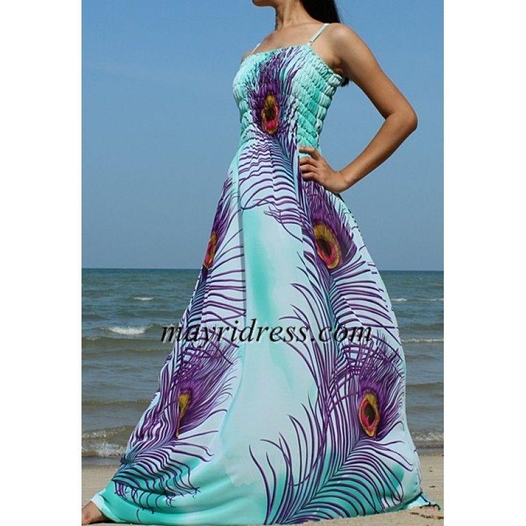 Peacock Maxi Dress Bridesmaid Plus Size Wedding Dress Prom Summer ...
