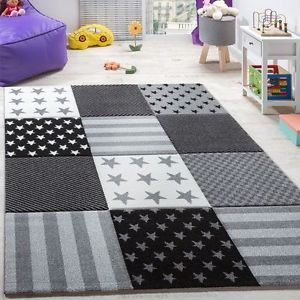 Modern Rug Carpets Kids Teens Bedroom Rugs Short Pile Funky Mats Grey Stars  New