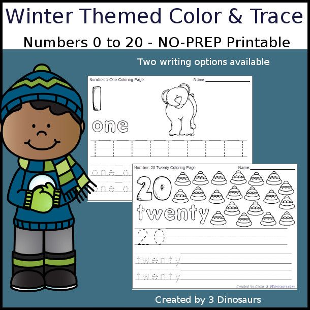 No-Prep Winter Themed Number Color and Trace - easy no-prep ...